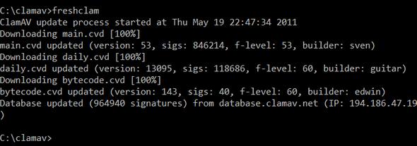 Screenshot of freshclam output