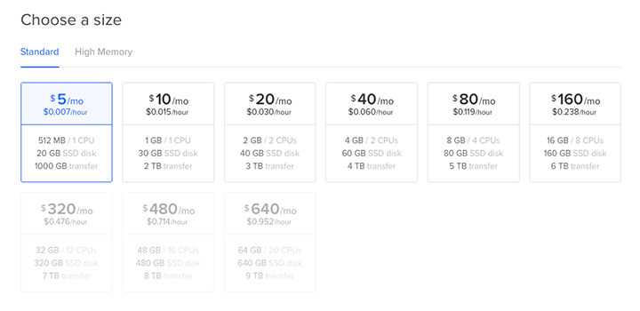 digitalocean server pricing plans