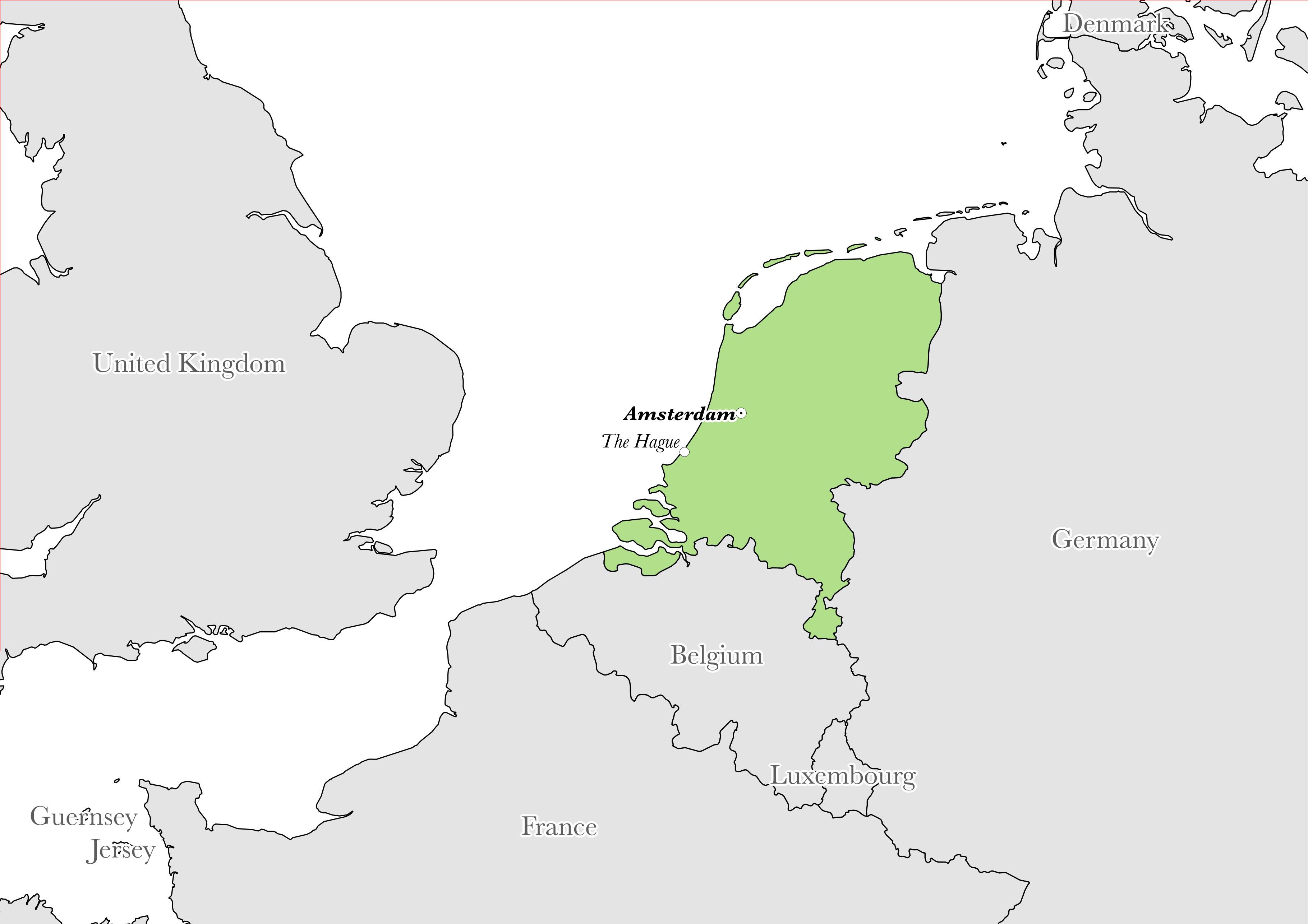 Map showing the location of Netherlands