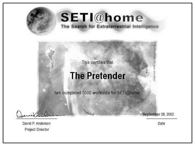 1000 SETI@home work units