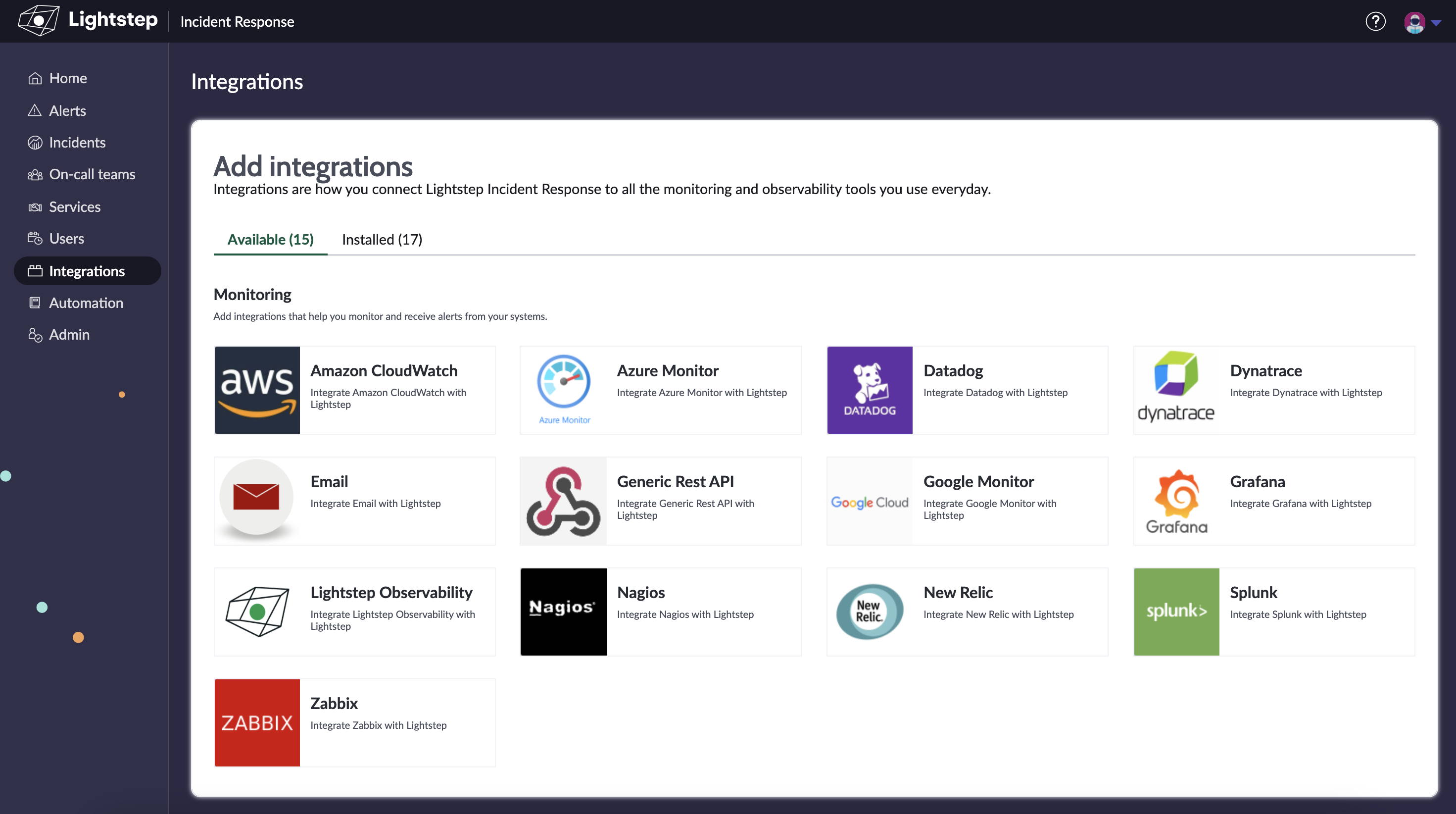 The Integrations landing page.