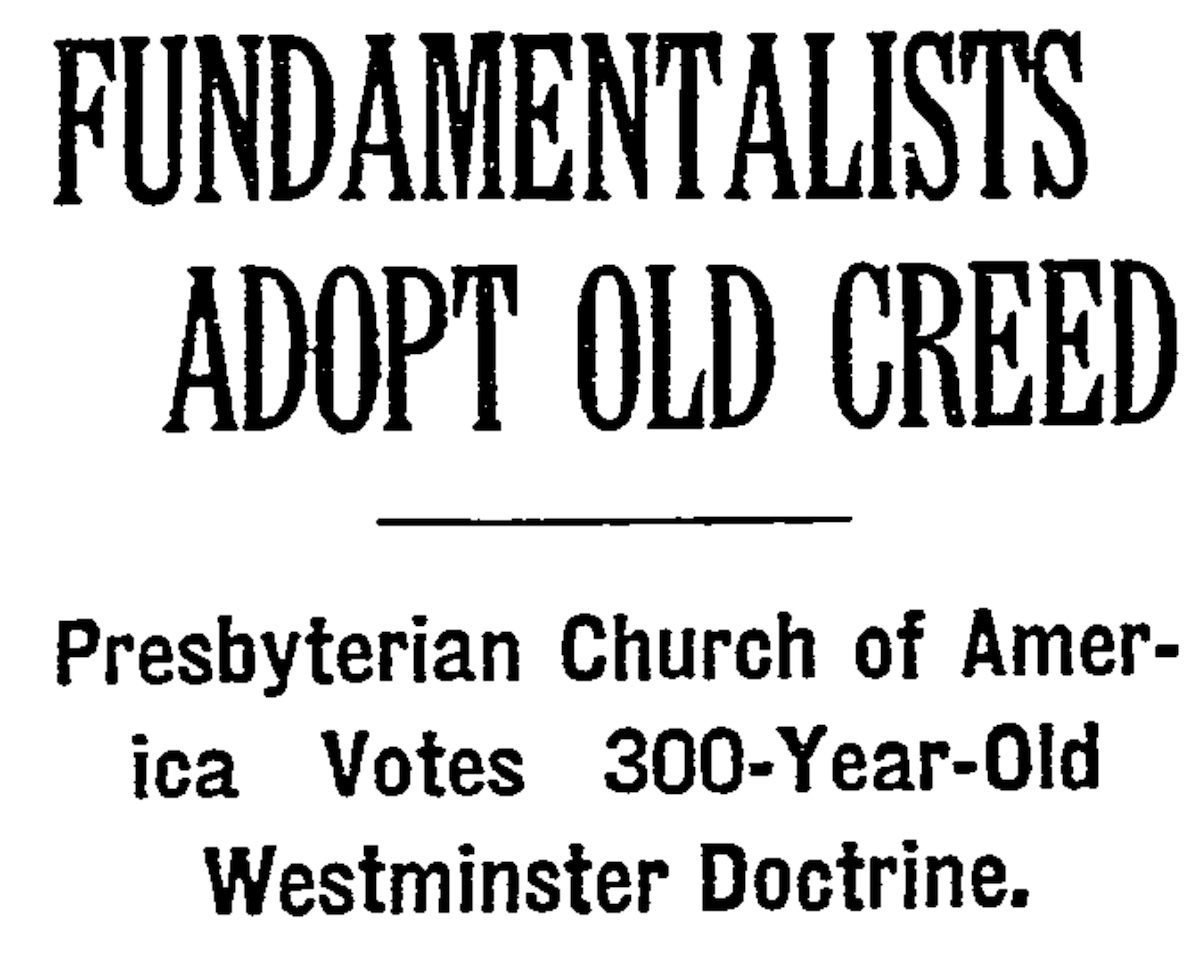 The New York Times reporting on the second general assembly of the Orthodox Presbyterian Church.