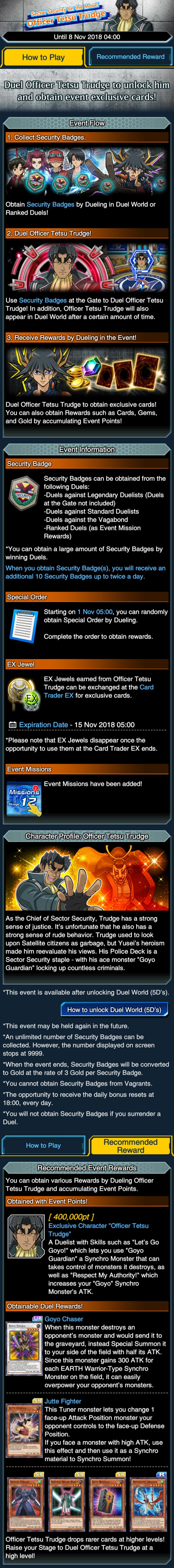 Sector Security on the Move! Officer Tetsu Trudge | Duel Links Meta