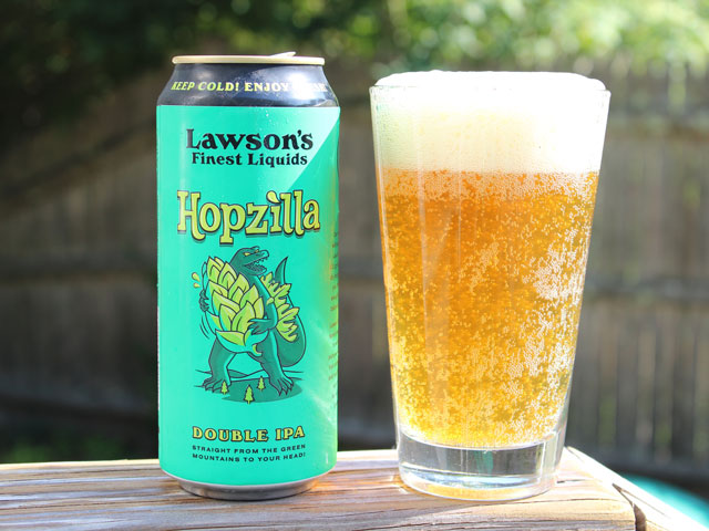 A 16oz can of Hopzilla poured into a pint glass