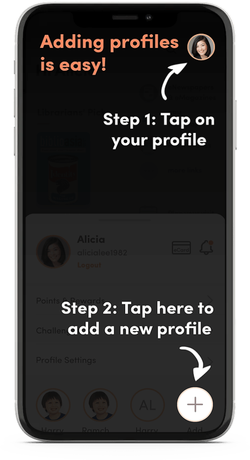 A tutorial screenshot for the app, showing how to add other profiles (e.g. your family members' accounts).