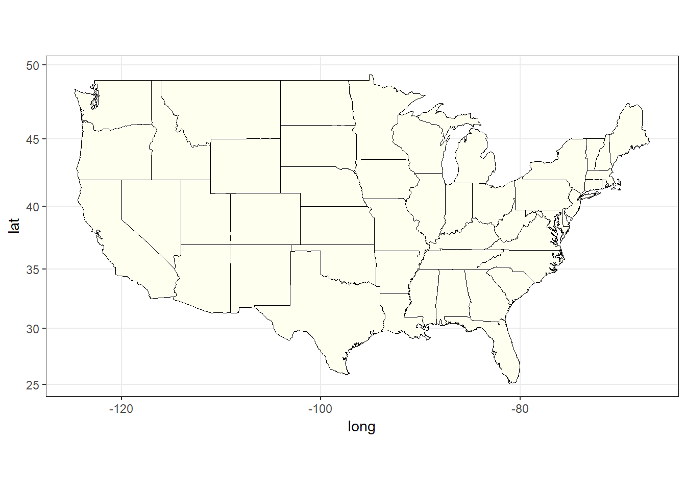 The plain state map of USA