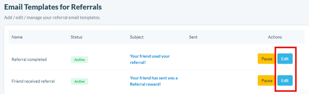 Email templates for referrals