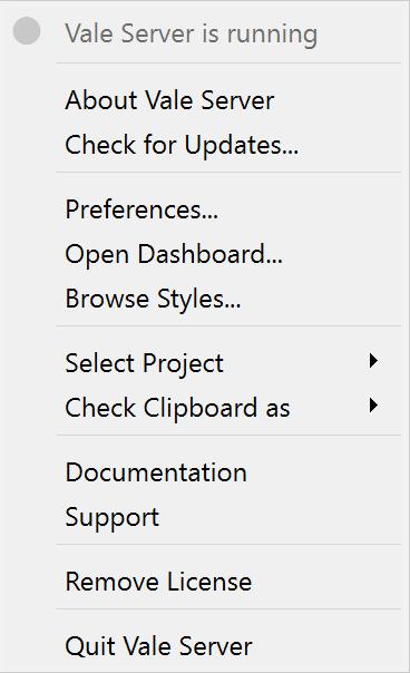 A screenshot of Vale Server's 'Preferences...' menu option.