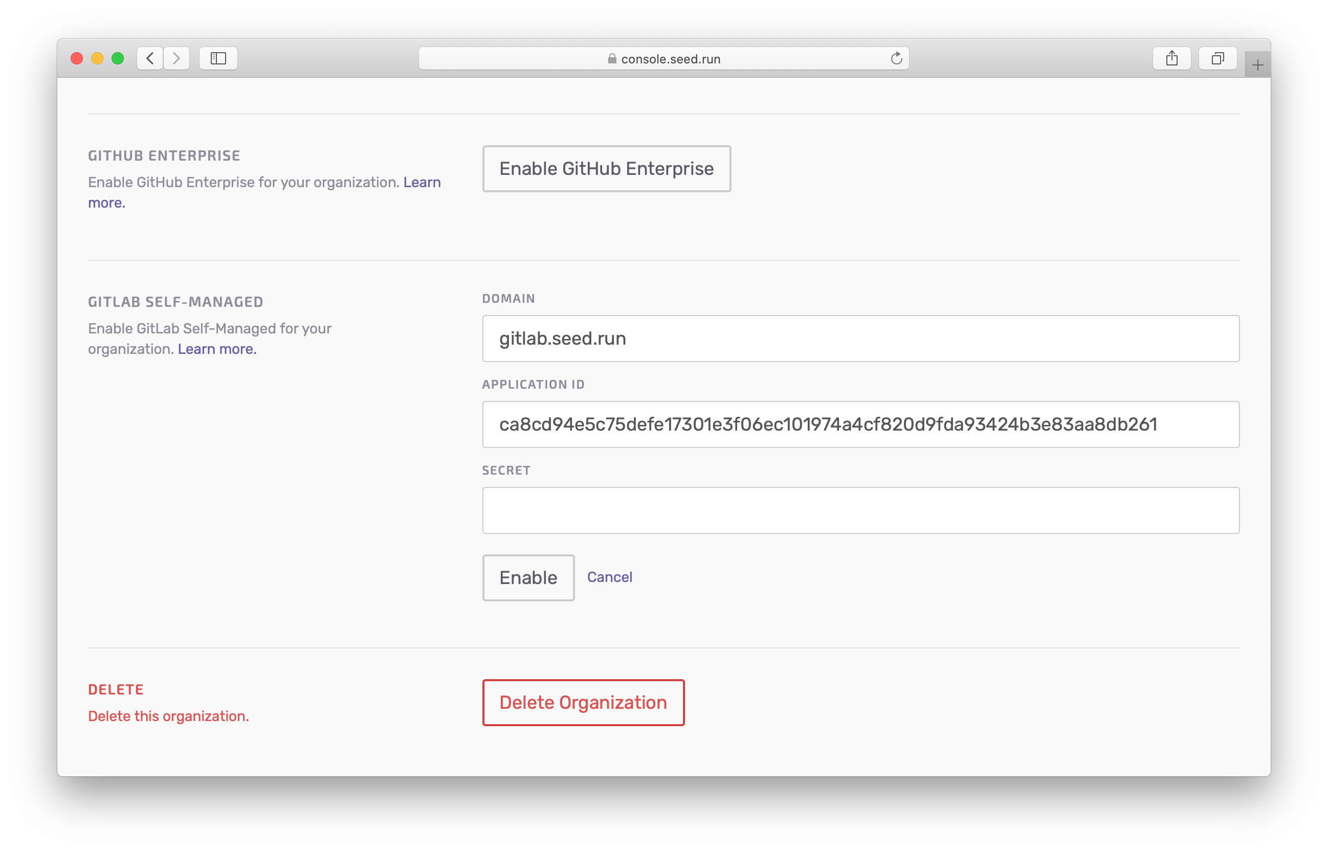 Enabled GitLab Self-Managed on Seed