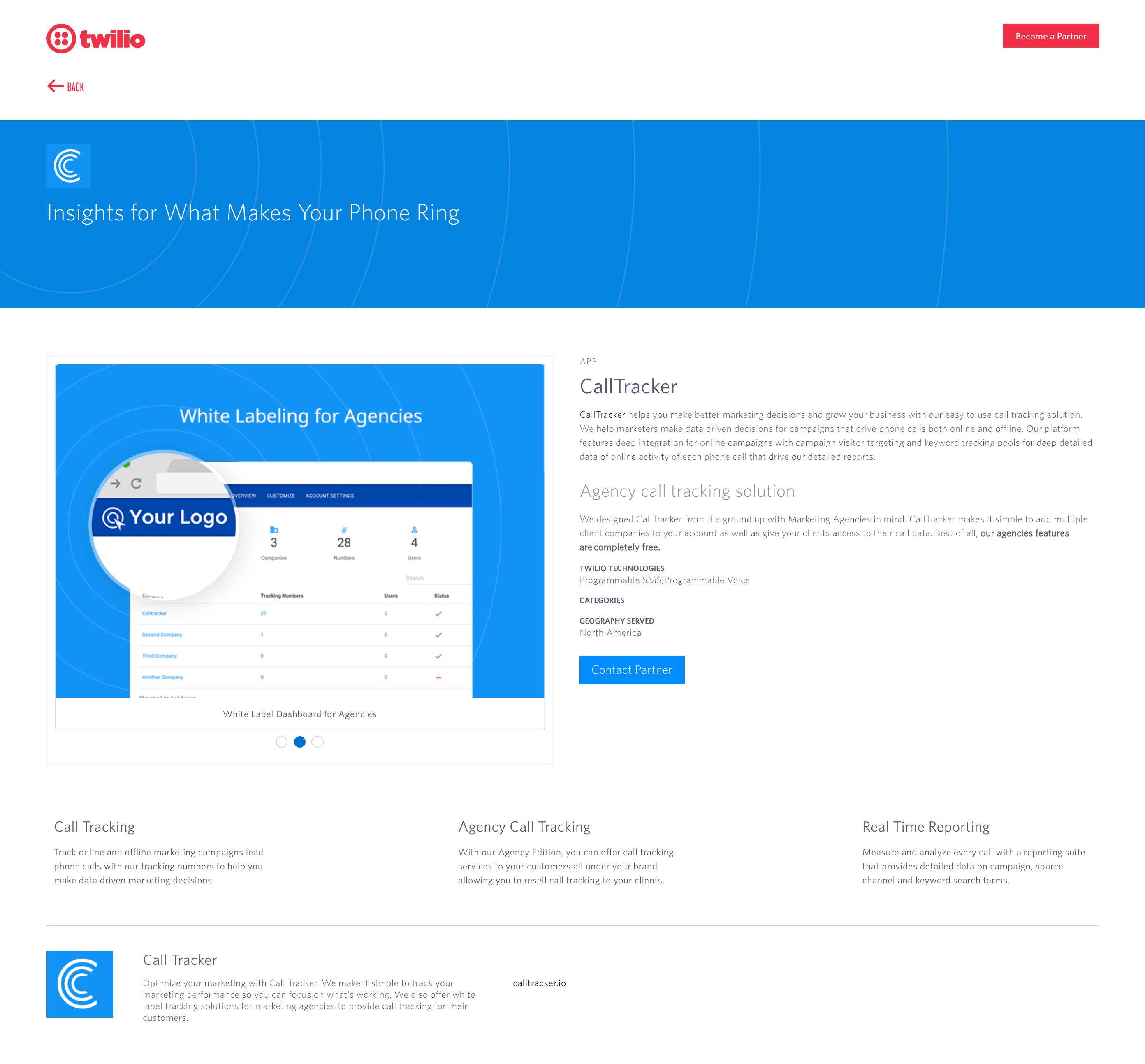 twilio calltracker partner listing
