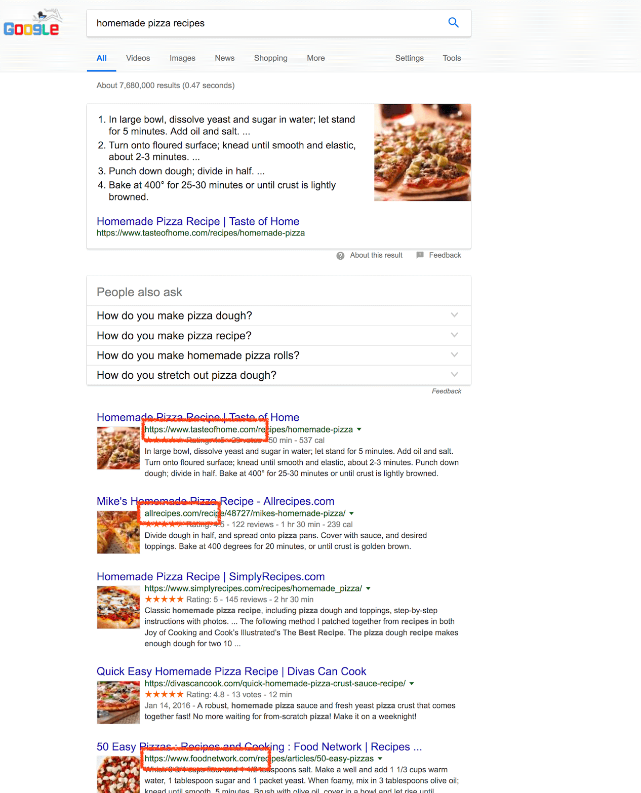 Homemade pizza search results in google