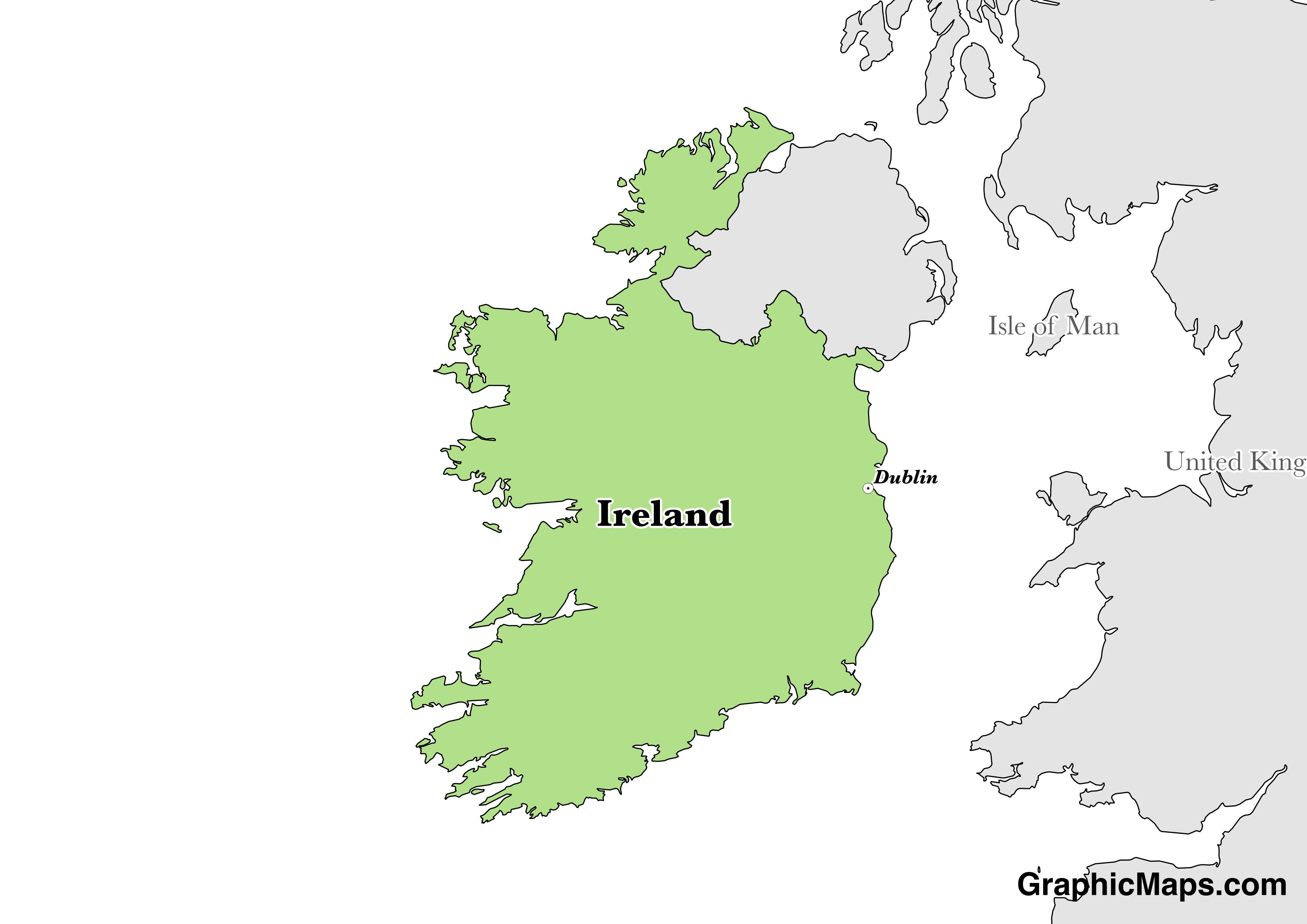 Map showing the location of Ireland