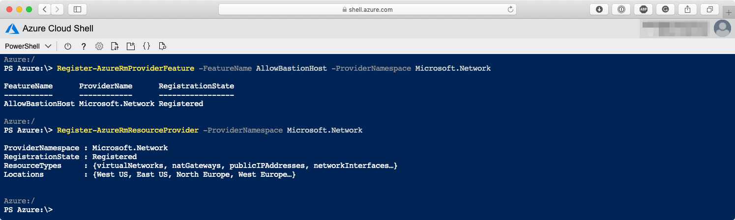The output of running the PowerShell commands