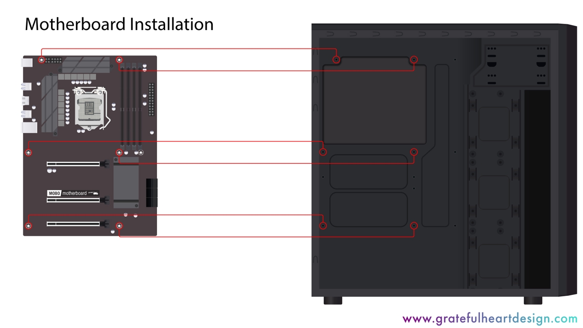 image showing how the holes in the motherboard should line up with the holes in the office computer case