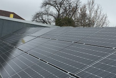 Solar panels on commercial roof