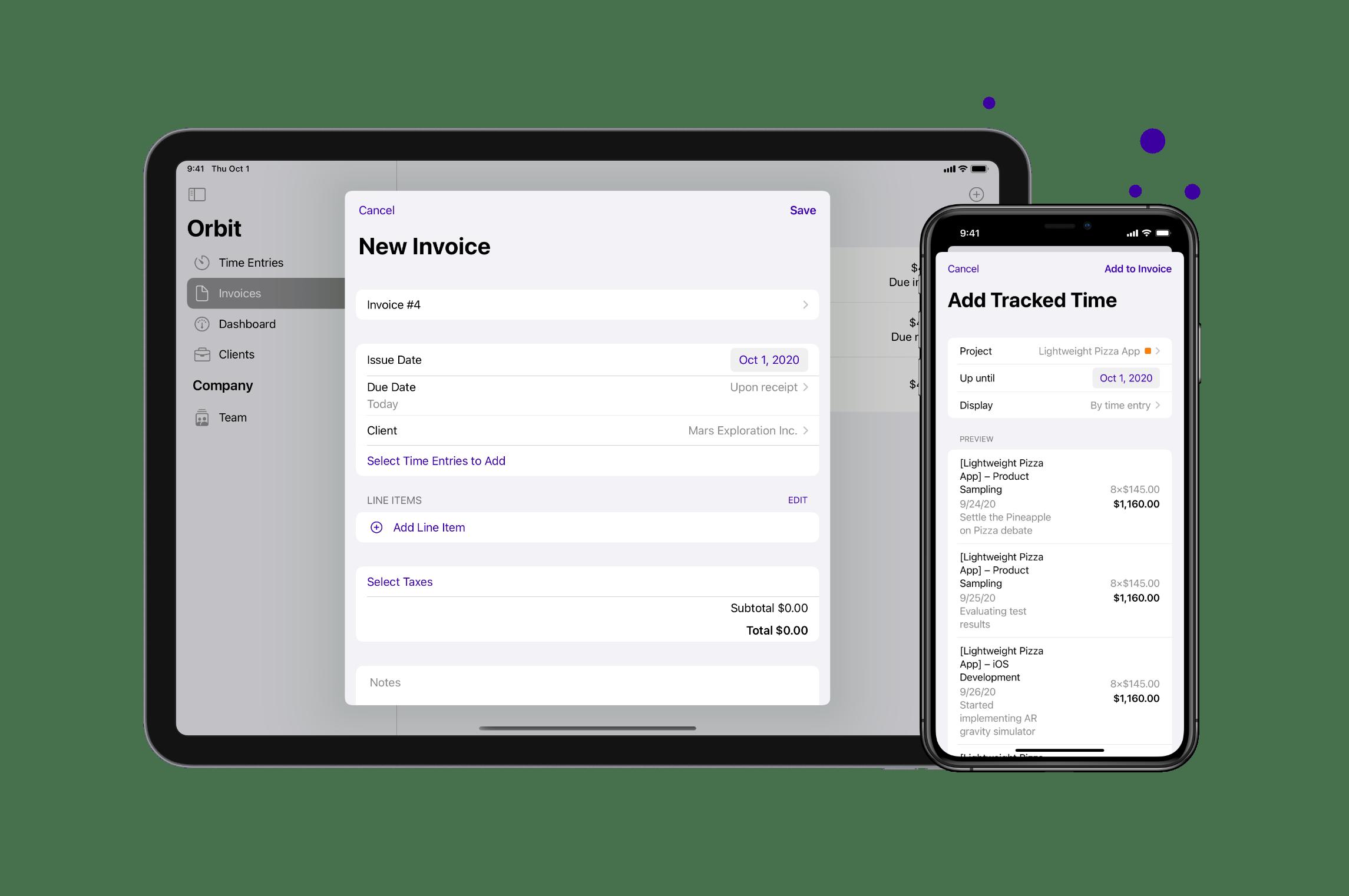 iOS Invoicing Screen