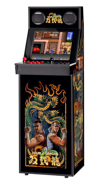 An IIRcade cabinet with a design similar to the original Double Dragon arcade cabinet