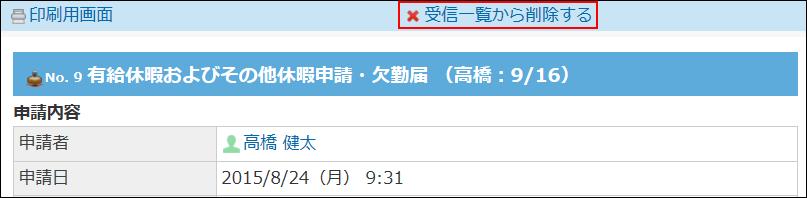 受信一覧から削除する操作リンクが赤枠でかこまれた画像