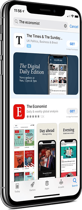 An advert for 'The Times' in the Apple app store displayed on an iPhone screen