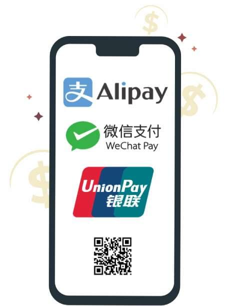 Alipay, WeChat Pay, UnionPay payments in PRC