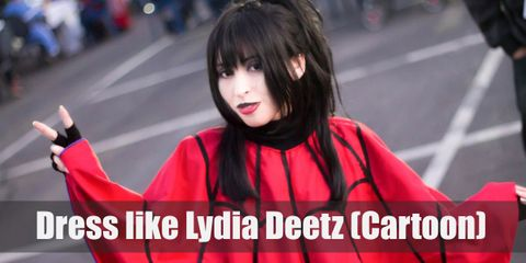Lydia wears a red spider web poncho, black boots, gloves, black wig, purple scrunchie, and black and red choker.