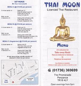 thai moon thakeaway menu penzance