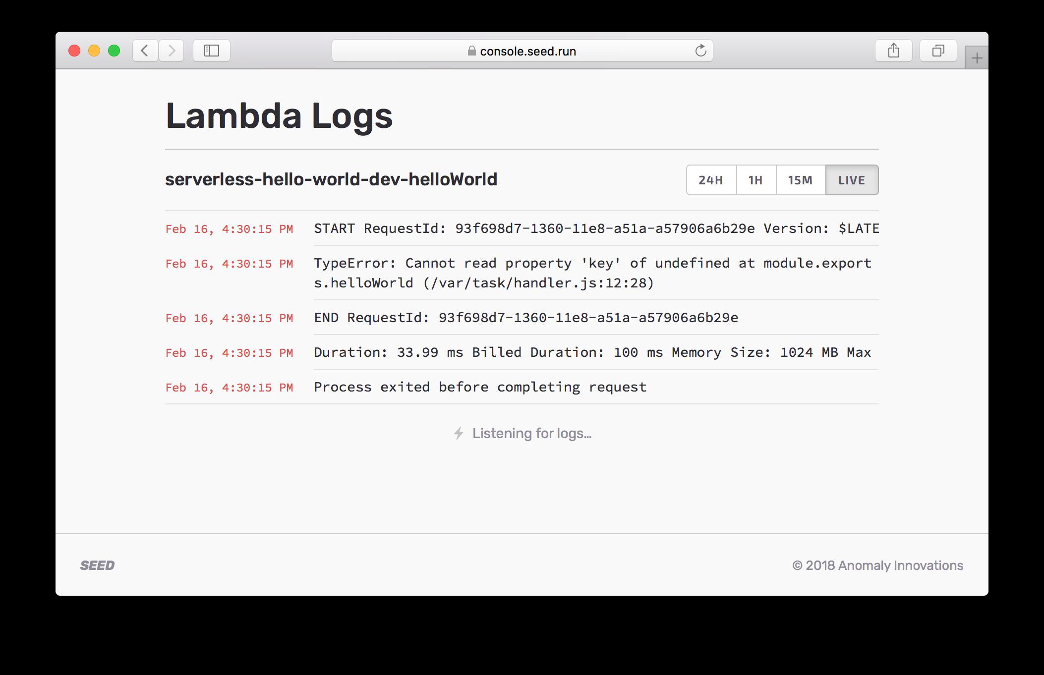 Lambda Logs Error