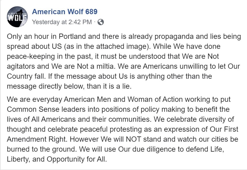 American Wolf propaganda statement deflecting from their agitation during the protest.