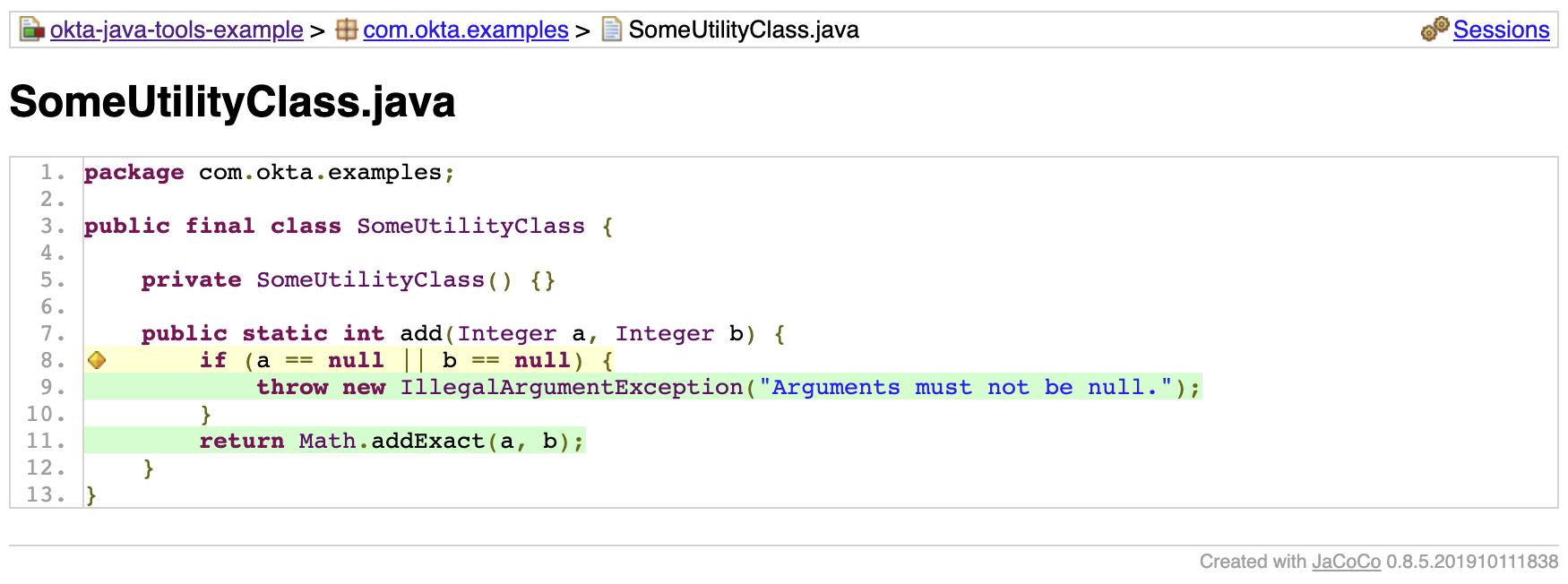 JaCoCo class screen shot