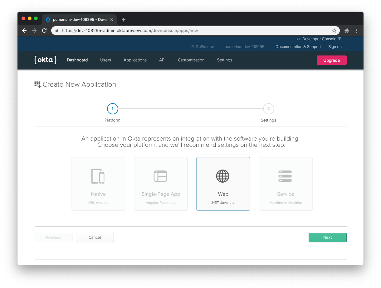 Okta Create Application Select Platform