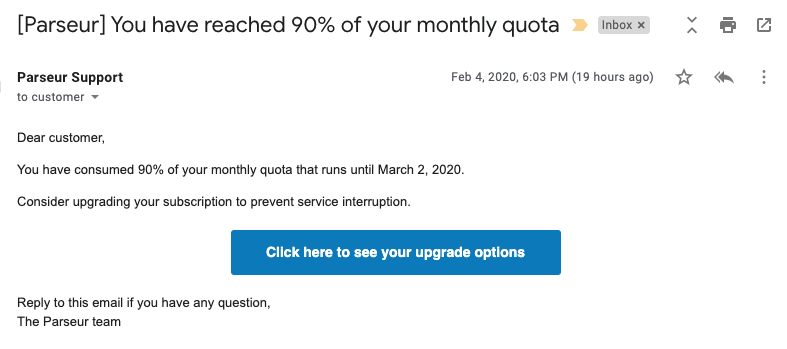 Quota almost reached email