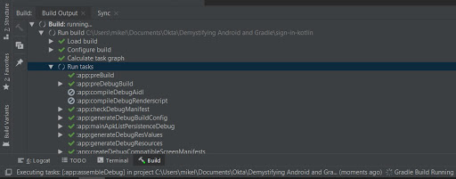 Android gradle build output