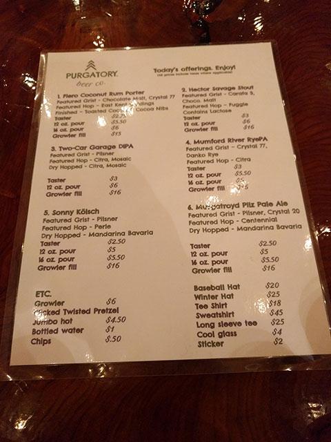A menu of craft beer at Purgatory brewing