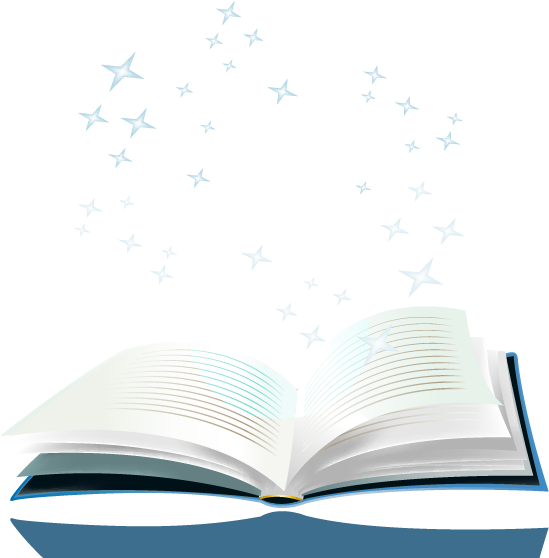 cartoon styled book with stars above it