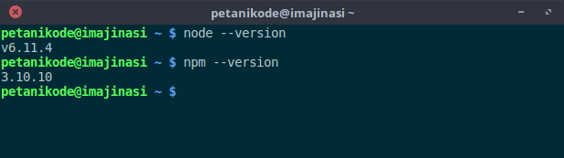 Version nodejs and npm
