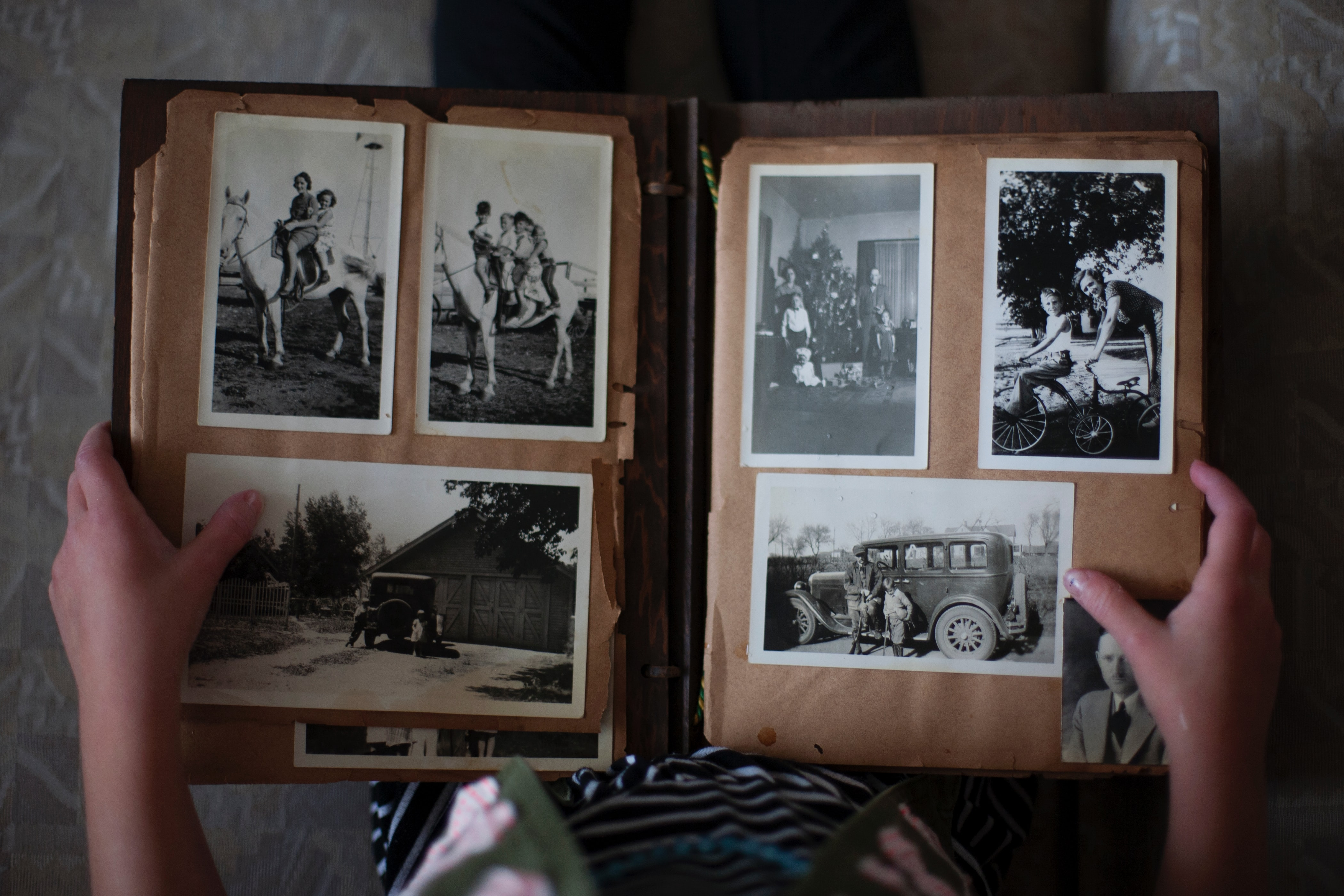 A photo book with old, personal photos