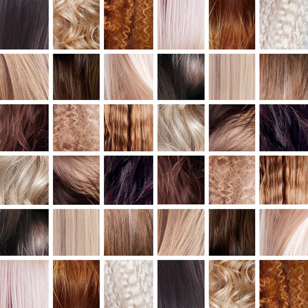 Human hair in different colors and textures