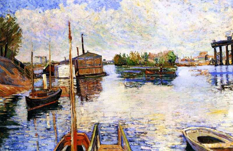 'Paris, Ponton des Bains Bailet' by Signac in 1885, currently in private collection