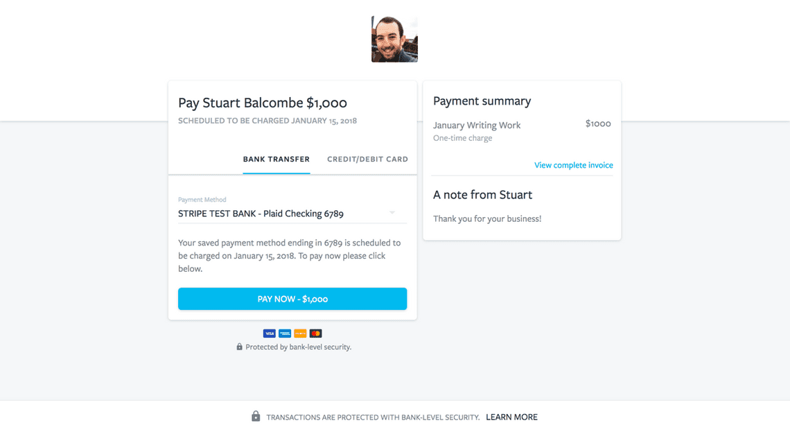 Screenshot of the client payment experience