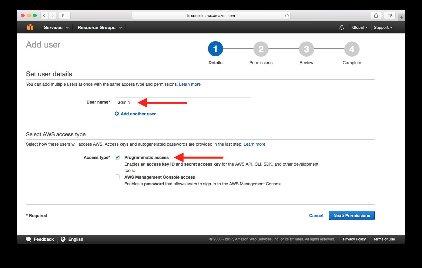 Fill in IAM User Info Screenshot