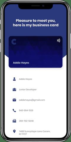 Simple iPhone next screen facing a card