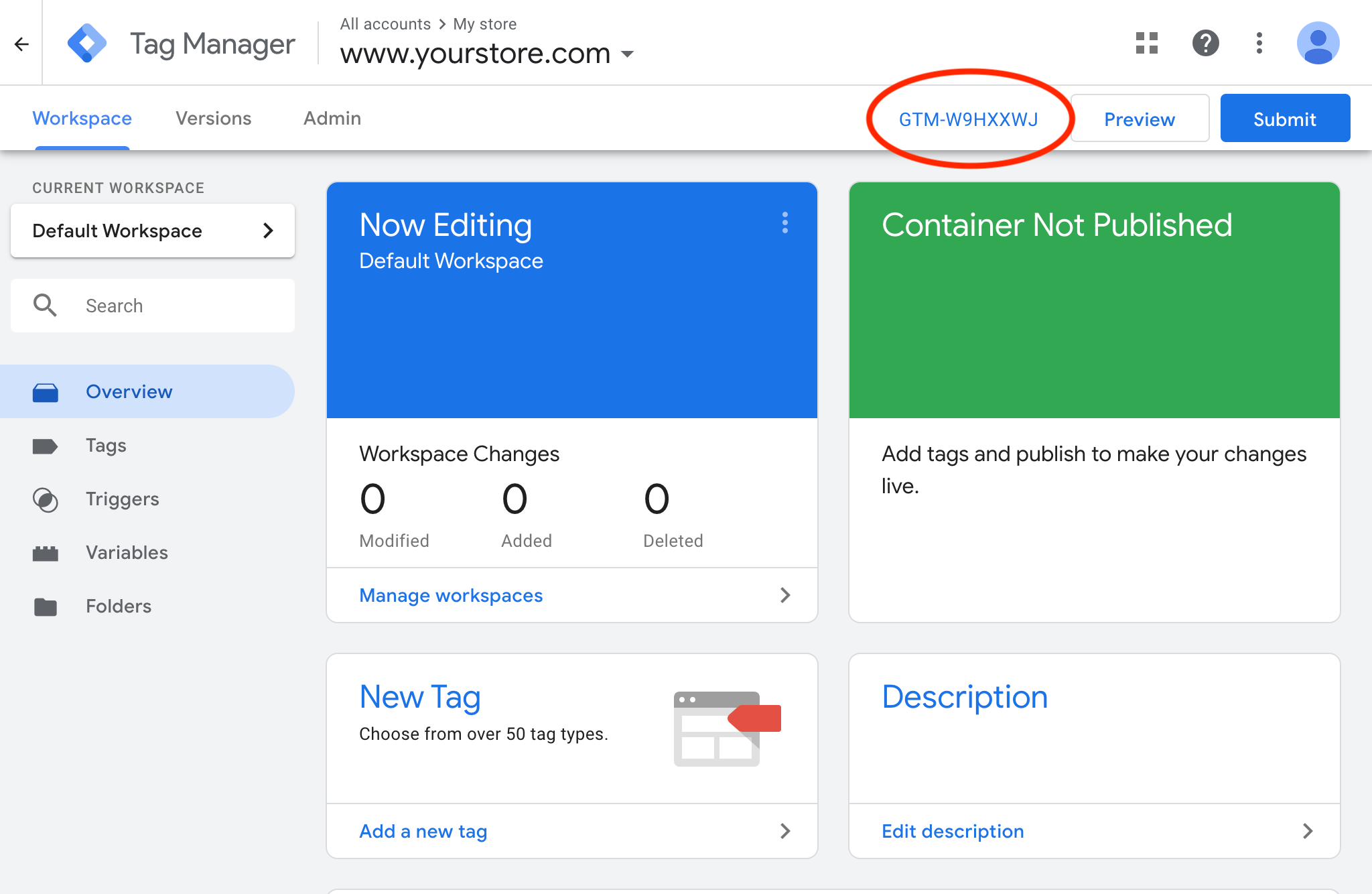Google Tag Manager: Copy container ID