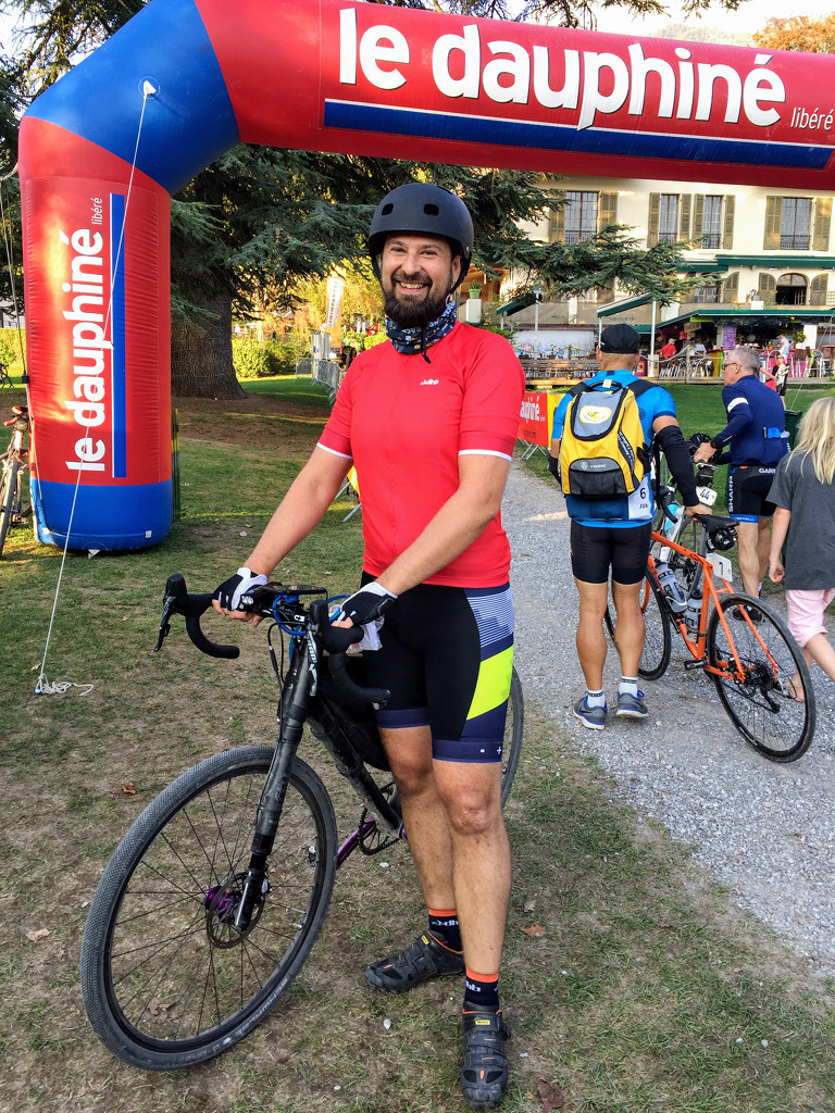 At the finish line of the La Resistance event, a really tough gravel bike event in the French Alps