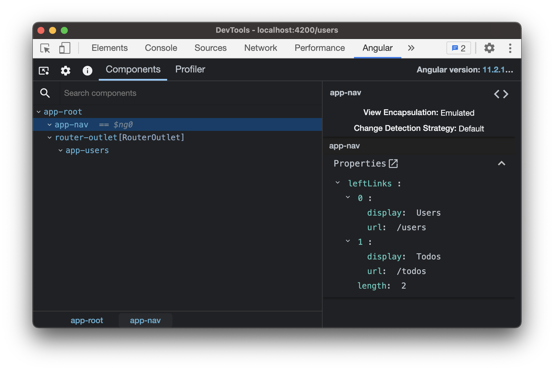 Angular dev tools showing the app-nav component