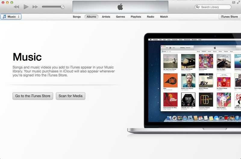 Screenshot of First run of iTunes on macOS