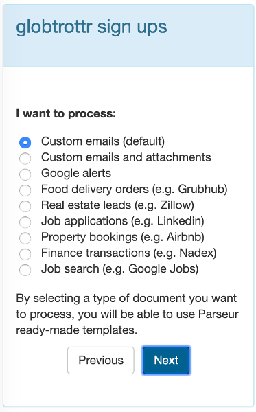 Select the type of documents you would like to parse