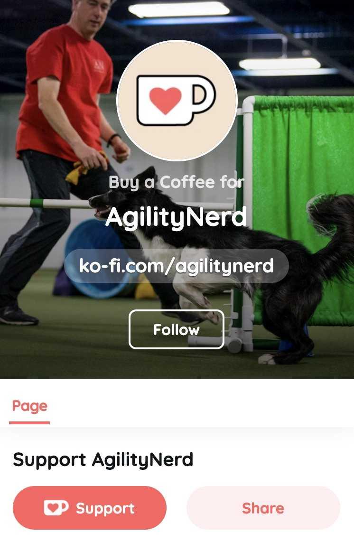 Screenshot of the AgilityNerd page on Ko-fi