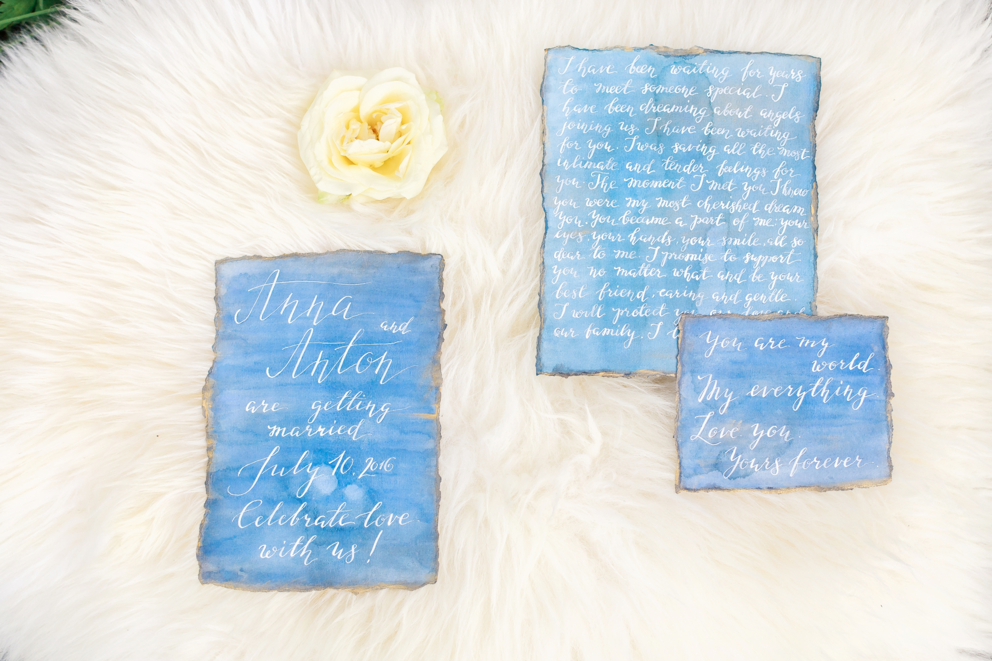 watercolor and calligraphy hand made wedding set item