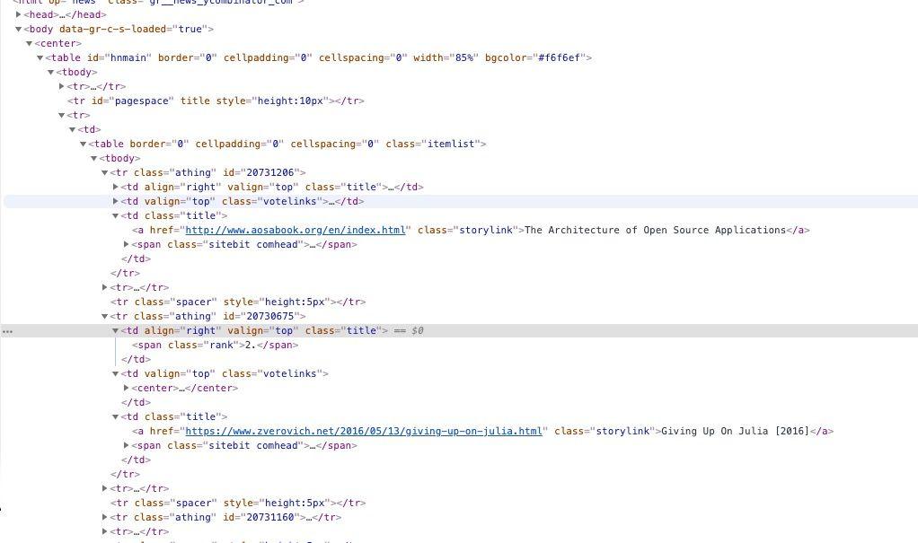Hacker news's HTML