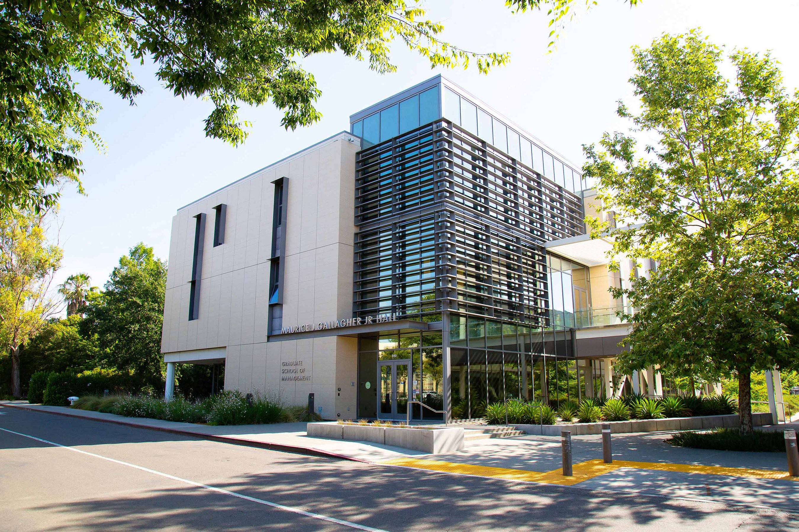 Sunshine hitting the Maurice J. Gallagher Jr. Hall at UC Davis' School of Management
